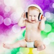 Baby with headphone. young DJ — Stock Photo