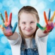 Stock Photo: Young happy girl. Hand Painted Child.