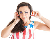 Young woman with headphones. girl listening to music in headpho — Stock Photo