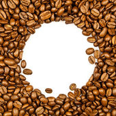Frame made from roasted coffee beans over white background. — Stock Photo