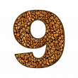 Number from coffee beans on white. 9 — Stock Photo #27855875