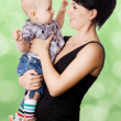 Beautiful happy mother with attractive baby boy — Stock Photo