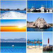Summertime theme photo collage. travel collage — Stock Photo