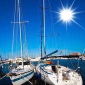 Hamn. båtar i hamnen. båtar båge i marina — Stockfoto