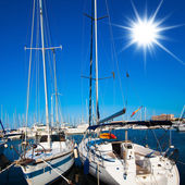 Sea Port . boats in harbor. Boats bow in marina — Stok fotoğraf