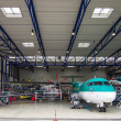 Passenger aircraft in hangar — Stock Photo #29012925