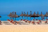 ビーチ パラソルとデッキチェアの風景。傘やデッキチェア — ストック写真