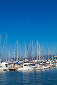 Boats in harbor. Boats bow in marina — Stock Photo