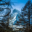 Matterhorn mountain of zermatt switzerland. Winter in swiss alps — Stock Photo