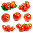 Fresh tomatoes set. Tomatoes on white background. — Stock Photo