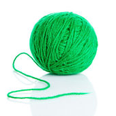 Green wool yarn ball isolated on white background — Stock Photo