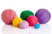 Colorful different thread balls. wool knitting on white backgr — Stock Photo