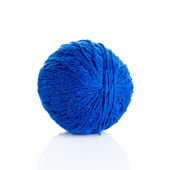 Blue Ball of knitting yarn on a white background — Stock Photo