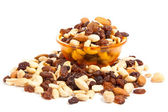 Mix of nuts close up on white. mix nuts isolated on white backg — Stock Photo