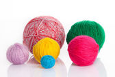 Colorful different thread balls. wool knitting on white background — Stock Photo