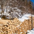 Firewood stacked in winter. — Stock Photo