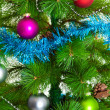 Christmas decorations. Christmas ball and green spruce branch — Stock Photo #32483327