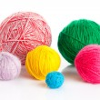 Colorful different thread balls. wool knitting on white backgrou — Stock Photo
