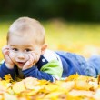 Little boy lying on the yellow leaves in the autumn park — Stock Photo