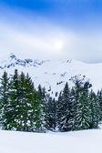 Prachtige sneeuwt landschap met bergen — Stockfoto