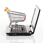 Online shopping. Shopping cart with notebook on the white — Stok fotoğraf