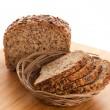 Stock Photo: Whole grain bread isolated on white background.