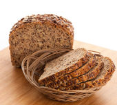 Whole grain bread isolated on white background. — Stock Photo
