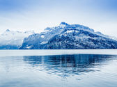 Panorama of Snow Mountain. Winter in the swiss alps. — Stock Photo