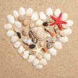Stock Photo: Heart made with shells