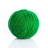 Green wool yarn ball isolated on white — Stock Photo