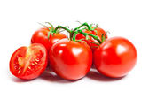 Closeup of tomatoes on the vine isolated on white — Stock Photo