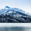 Panorama of Snow Mountain. Winter in the swiss alps. — Stock fotografie