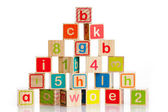 Wooden toy cubes with letters — Stock Photo
