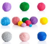Collection of wool knitting on white background. — Stock Photo