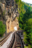 Dead railway beside cliff, along Kwai river in Thailand — Stock Photo