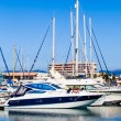 Yachts and boats anchored at a marina. Sailing Boats — Stock Photo
