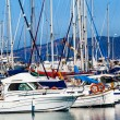 Yachts and boats anchored at a marina. Sailing Boats — Stock Photo #40320521
