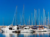 White yachts on an anchor in harbor — Stock Photo