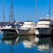 White yachts on anchor in harbor — Stock Photo #40810495
