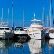 White yachts on anchor in harbor  — Stock Photo #41721553