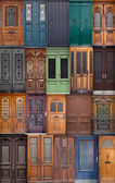 20 different European front entrance doors.  set of colorful woo — Stok fotoğraf