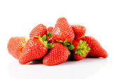 Ripe red strawberries on white background isolated  — Stock Photo