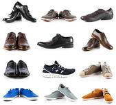 мужская коллекция обуви. обувь мужчин по белому фону — Стоковое фото
