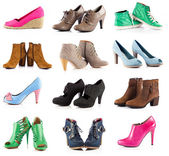 Female footwear.  female shoes over white  — Stock Photo