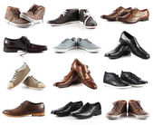Male shoes collection.  men shoes over white background — Stock Photo