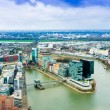 Постер, плакат: Wide angle picture of river Rhine Duesseldorf Seen from the te