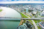 Wide angle picture of river Rhine, Duesseldorf. — Stock Photo
