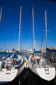 Yachts and boats in marina — Stock Photo
