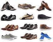 Erkek ayakkabı koleksiyonu. beyaz arka plan üzerinde erkek ayakkabıları — Stok fotoğraf