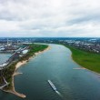 ������, ������: Wide angle picture of river Rhine Duesseldorf Seen from the te